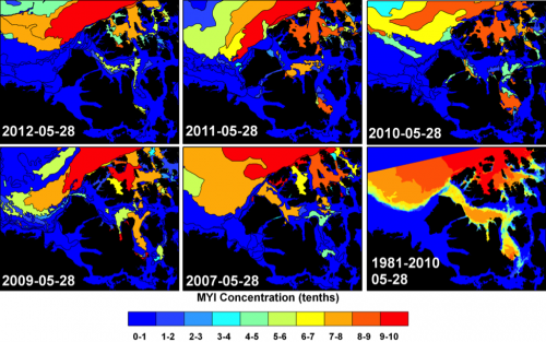 Spatial distribution of MYI concentration in the Western Parry Channel