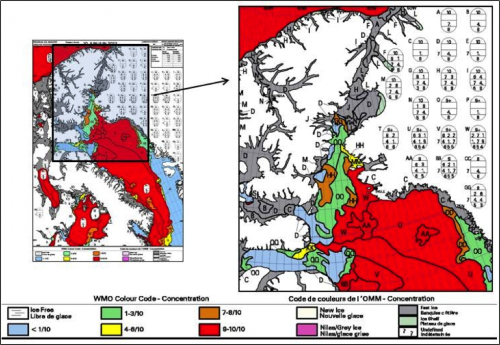 Figure 6. 10 June 2013 Eastern Arctic and Nares Strait regional ice charts.