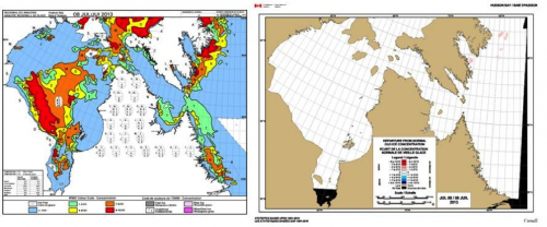 Figure 3. Ice concentration chart (left) and departure from normal (right)