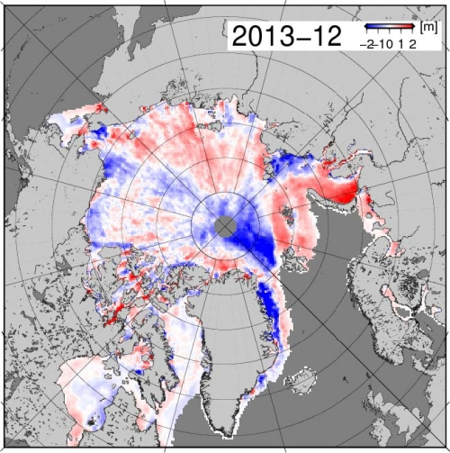 Figure 6. March sea ice thickness, 2013 minus 2012