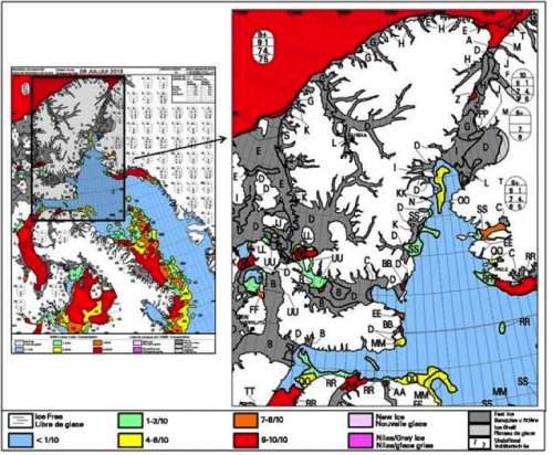 Figure 8. July 2013 regional ice charts for the Eastern Arctic and Nares Strait