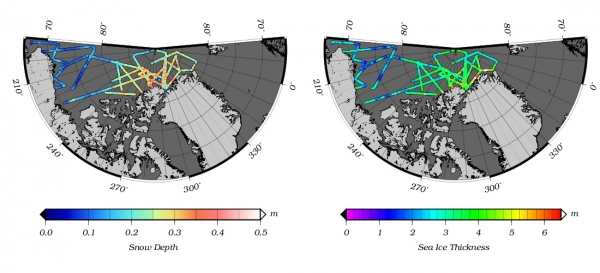 Figure 9. NASA Icebridge - Snow depth and sea ice thickness data from the Quick Look data product. Image via: http://www.nasa.gov/mission_pages/icebridge/science/sea-ice.html#.U5-QI6hhtga.