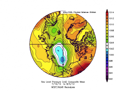 Sea level pressure for 15 July through 5 August