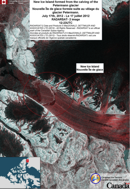 Annotated RADARSAT-2 image of the Petermann glacier