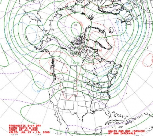 Figure 6. 8–14 day forecast of 500 mb geopotential heights.