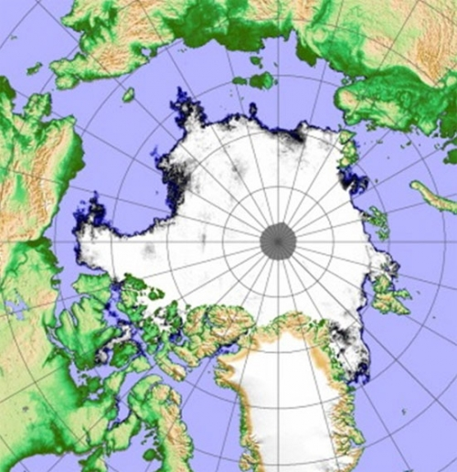 Figure 2b. Sea ice extent for 16 September 2009.