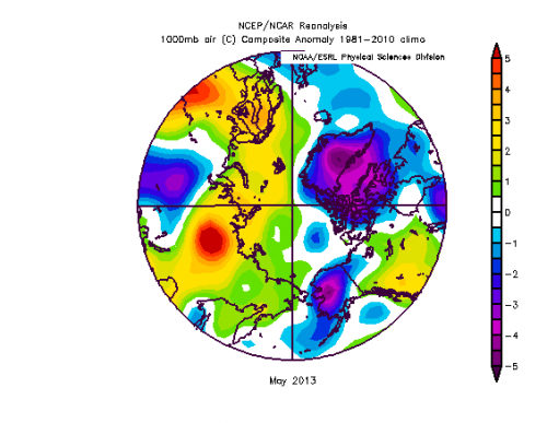 Figure 8. Near surface air temperature anomalies for May 2013.