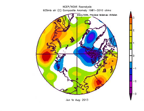 Figure 3b. Summer 2013 near surface air temperature anomaly field.