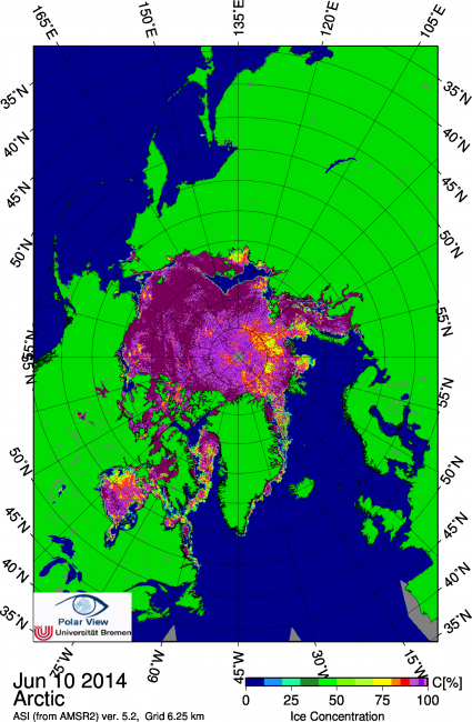 Figure 4. Arctic sea ice concentration on 10 June 2014. From PolarView, University of Bremen, http://www.iup.uni-bremen.de:8084/amsr2/.