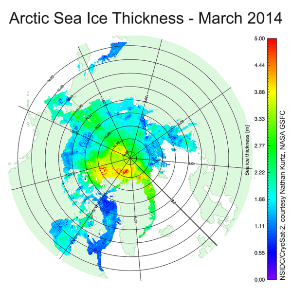 Figure 8. Sea ice thickness from the ESA CryoSat-2 altimeter, provided by NSIDC and Nathan Kurtz at the NASA Goddard Space Flight Center.
