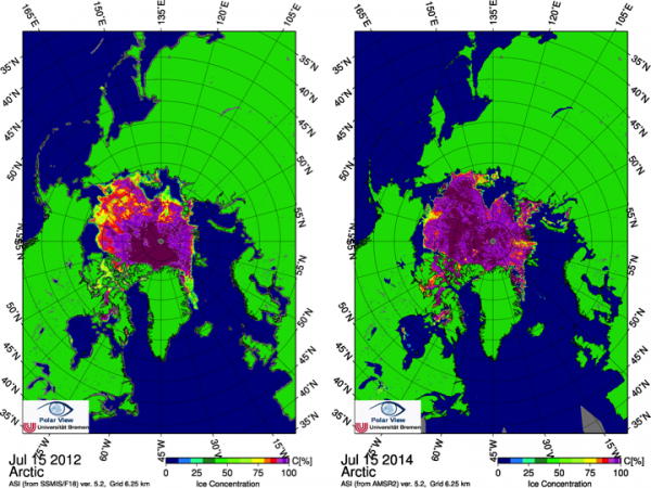 Figure 6. Sea ice concentration for 15 July in (left) 2012 and (right) 2014. From the University of Bremen/PolarView.