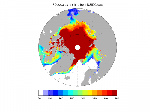 Climatology of ice-free dates (2003-2012 mean) from NSIDC