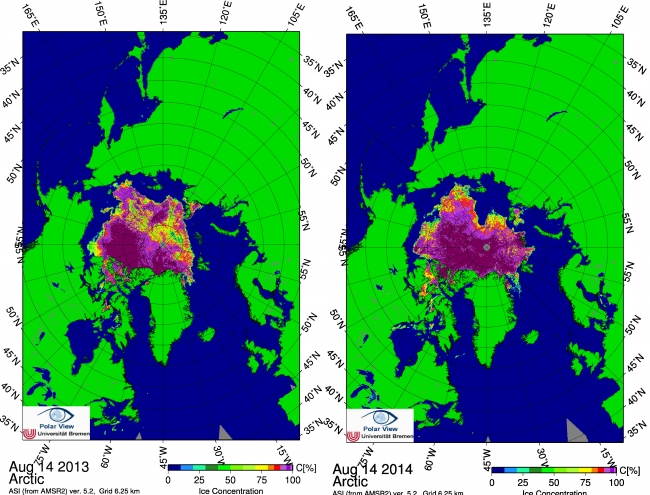 Figure 5. Sea ice concentration for 14 August in (left) 2013 and (right) 2014. From the University of Bremen/PolarView.