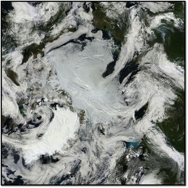 Figure 8. Visible true color mosaic of the Arctic Ocean for 14 August from the NASA MODIS sensor. Image from NASA WorldView, http://earthdata.nasa.gov/labs/worldview/