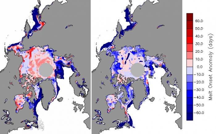 Figure 5. Anomalies in melt onset for 2013 (left) and 2014 (right).