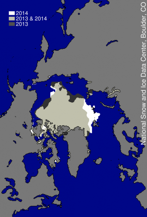 Figure 6. This image compares differences in ice-covered areas between September 17, 2014, the date of this year's minimum, and last year's minimum, September 13, 2013. Light gray shading indicates the region where ice occurred in both 2014 and 2013, while white and dark gray areas show ice cover unique to 2014 and to 2013, respectively.