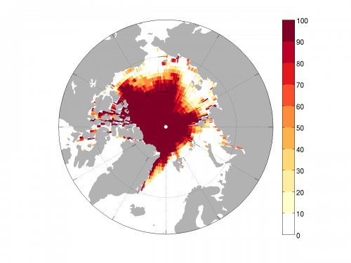 Figure 4. Sea Ice Probability (%) map of the projected NCAR CESM1 September mean ice extent for 2015. Image courtesy of Ed Blanchard-Wrigglesworth.