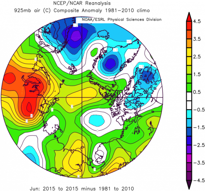 Figure 7. 9250 mb air temperature anomaly for June 2015. From NCAR/NCEP Reanalysis.