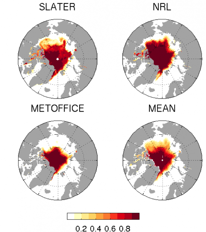 Figure 4. September Sea Ice Probability (SIP, the probability of sea ice concentration >15% at each grid cell), in the Slater, NRL-SSC/Metzger et al., and MetOffice/Peterson et al. forecasts. The MetOffice forecast is not bias corrected and has a slight negative overall bias.