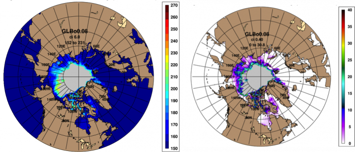 Figure 5. Left: First ice-free ordinal date (IFD). Right: Standard deviation of the IFD, with grey indicating a data void (i.e., no ice free days as the most likely outcome) of the projected GOFS 3.1 ensemble September mean for 2015. Images courtesy of NRL Stennis Space Center (Posey et al).