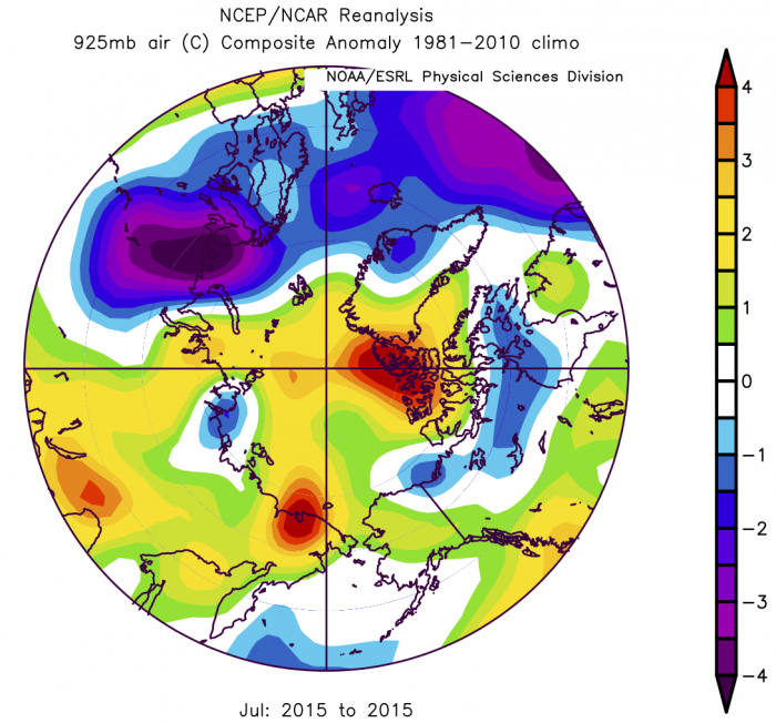 Figure 9. 925 mb air temperature anomaly for July 2015. From the NCEP/NCAR reanalysis.
