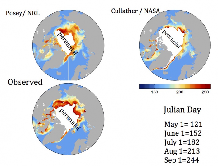 Figure 11. Ice-free date (IFD) forecasts from NRL and NASA GMAO from the June SIO call.