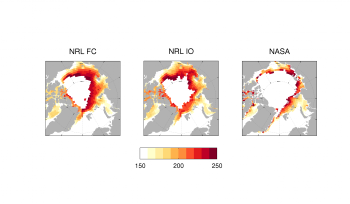 Figure 5. 2016 Sea Ice Outlook predictions of Ice Free Dates (IFD) from 3 dynamical models. NRL FC corresponds to Barton (NRL) and NRL IO to Metzger (NRL) in Figure 3. Image courtesy of Edward Blanchard-Wrigglesworth.