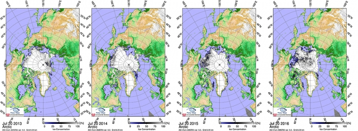 Figure 6a: Sea ice concentration on 20 July for the last four years.