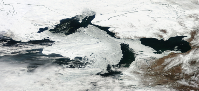 Figure 20: 21 April 2016 Terra / MODIS image showing mostly open water across the Bering Strait. Image from NASA WorldView.