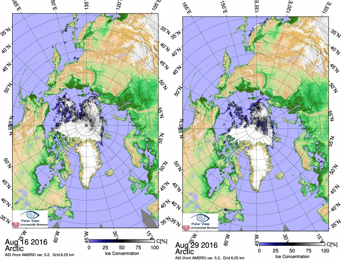 Figure 8: Sea ice coverage (left) 16th August 2016; (right) 29th August 2016 before and after the storm passed over the Arctic Ocean.  Image generated from data from the AMSR2 sensor (Spreen et al, 2007). Images courtesy of Univ. Bremen.