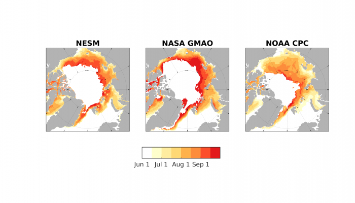 Figure 4. 2017 Sea Ice Outlook predictions of Ice Free Dates (IFD) from 3 dynamical models.