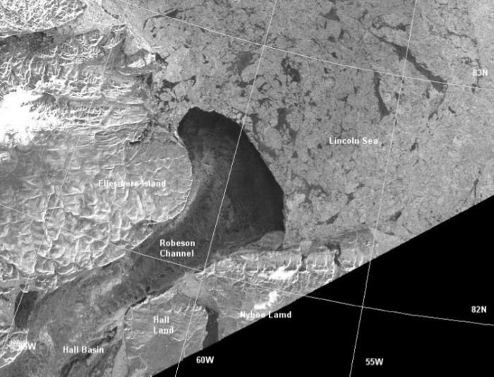 Figure 7. The arched formed in the Lincoln Sea in the period 27 January to 1 February 2017. This image is part of a scene acquired by the Sentinel 1B on 1 May 2017 13.04.03. Note the difference between the ice canopy west and east of approximately 55°W with the ice west of this longitude being part of the in-flow to the Nares Strait before the formation of the arch. (Image courtesy of Gudmandsen)