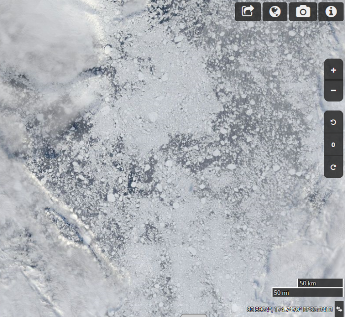 Figure 10. Image for Aug 21 centered at 82 N 155 E showing the low sea ice concentration. Plot is provided by NASA Worldview.