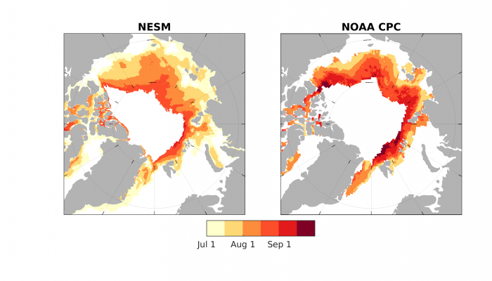 Figure 6. 2017 August Sea Ice Outlook predictions of Ice Free Dates (IFD) from NESM and NOAA CPC dynamical models.