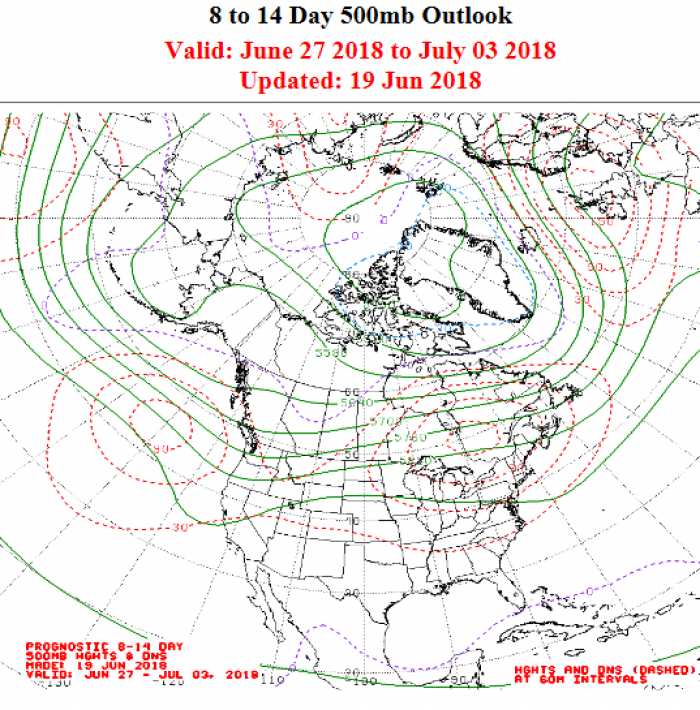 Figure 10. Extended range forecast of 500mb geopotential heights (green contours) over the Arctic and North America.  NOAA/NWS product.