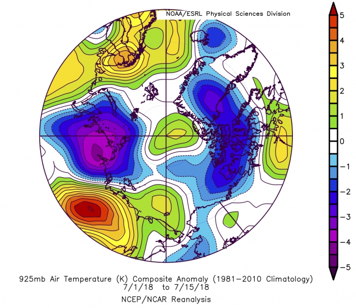 Figure 11: Average air temperature anomalies at the 925 hPa level sea level pressure for 1 July through 15 July 2018. Figure courtesy of NOAA.