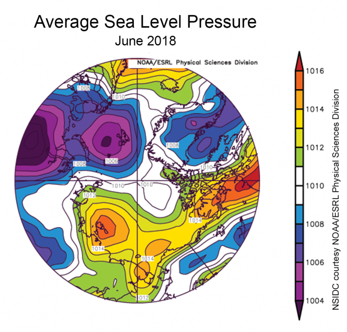 Figure 7: Average sea level pressure for June 2018. Image courtesy of NOAA and NSIDC.