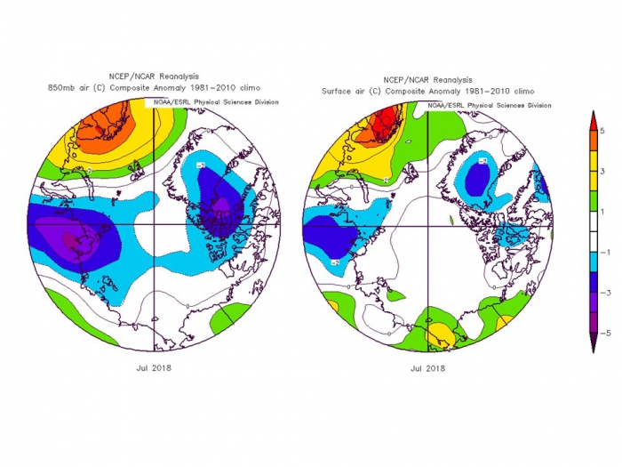 Figure 9. Departures from normal air temperatures (°C) at 850 hPa (left) and the surface (right) during July, 2018.  Source: NOAA Earth Science Research Laboratory
