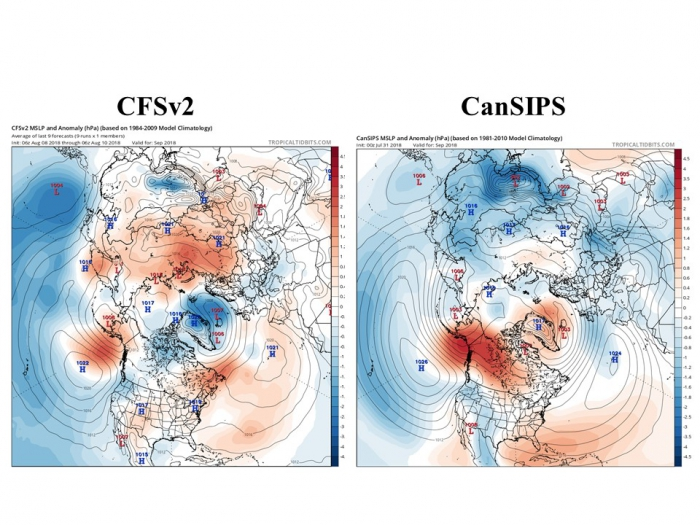 Figure 14.  Sea level pressure forecasts for September from the NOAA's CFSv2 model (upper) and Canada's CanSIPS model (lower).  Contours show actual pressures, colors show departures from model's climatology for September.