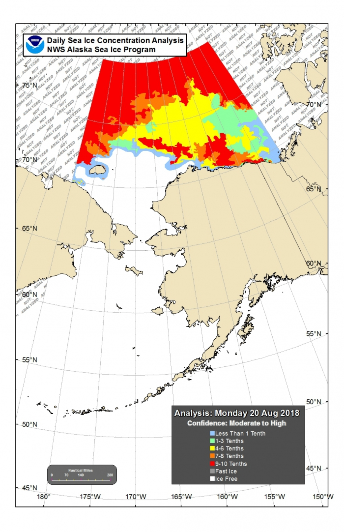 Figure 18. Alaska Region sea ice concentration for Chukchi and Beaufort Seas from 15 August 2018. Figures courtesy of NWS Alaska Sea Ice Program (ASIP).