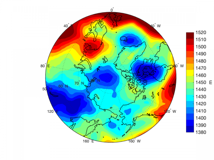 Figure 12. Projection of 850 mb geopotential height for 12 July 2019 based on the CFSv2 operational forecast.