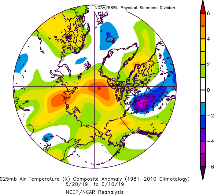 Figure 8. Arctic 925 hPa air temperature anomalies. From NOAA ESRL plotting routines.
