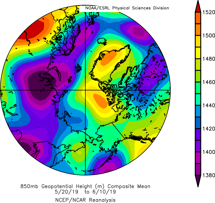 Figure 9. Arctic geopotential height field at 850 hPa - 15 % of the atmosphere above the surface. From NOAA ESRL plotting routines.