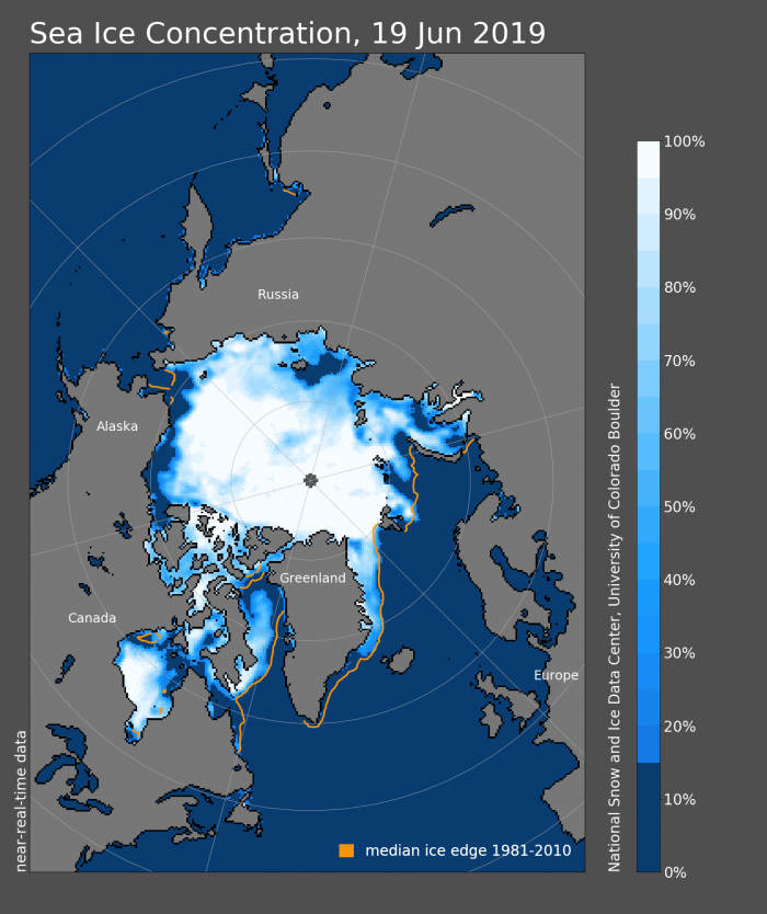 Figure 7. Sea ice concentration for 19 June 2019. Figure courtesy of the National Snow and Ice Data Center.