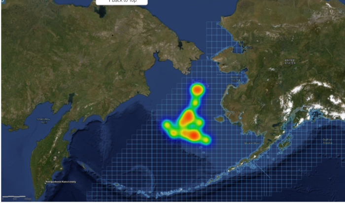 Figure 8a2. This heat map includes four complete responses from boat captains to a question about which areas they would most prefer to have sea ice forecasts one-month in advance.