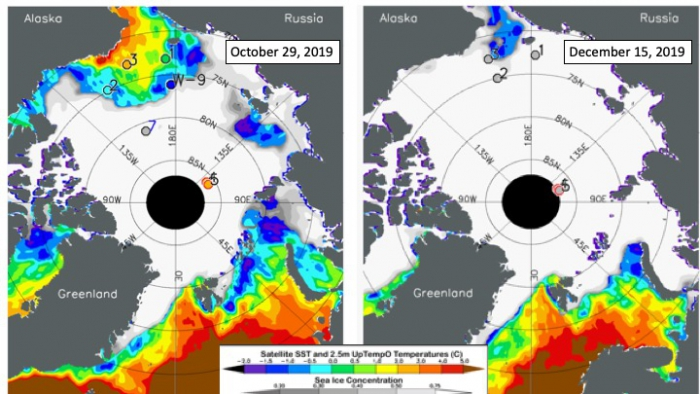 Figure 3b-2. Sea surface temperature (color contours) from NOAA's OISST data set (Banzon et al., 2016), and ice concentration (gray contours) from NSIDC's near-real-time SSMIS data set (Maslanik and Stroeve, 1999) for 29 October (left) and 15 December 2019 (right). Colored dots indicate drifting UpTempO buoy SSTs.
