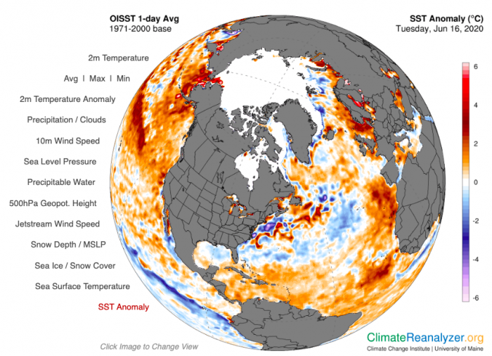 Figure 14. Sea Surface Temperature (SST) anomaly for 16 June 2020, relative to an average of that day over the years 1971–2000, using NOAA's OISST product, from the University of Maine Climate Change Institute's Climate Reanalyzer.