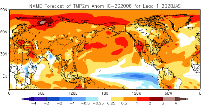 Figure 17. The outlook for summer temperature anomalies (C) based on the NMME forecasts for July–September 2020. Source: NOAA Climate Prediction Center.