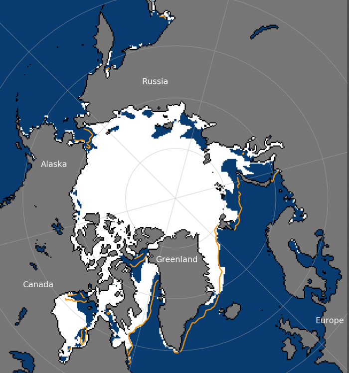 Figure 8. Sea-ice concentration for 21 June 2020. Yellow line outlines the median ice edge for 1981–2010.  Figure courtesy of the National Snow and Ice Data Center.