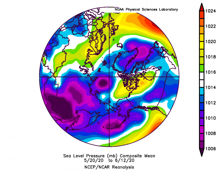 Figure 9. Arctic sea level pressure averaged for 20 May–12 June 2020. From NOAA ESRL plotting routines.